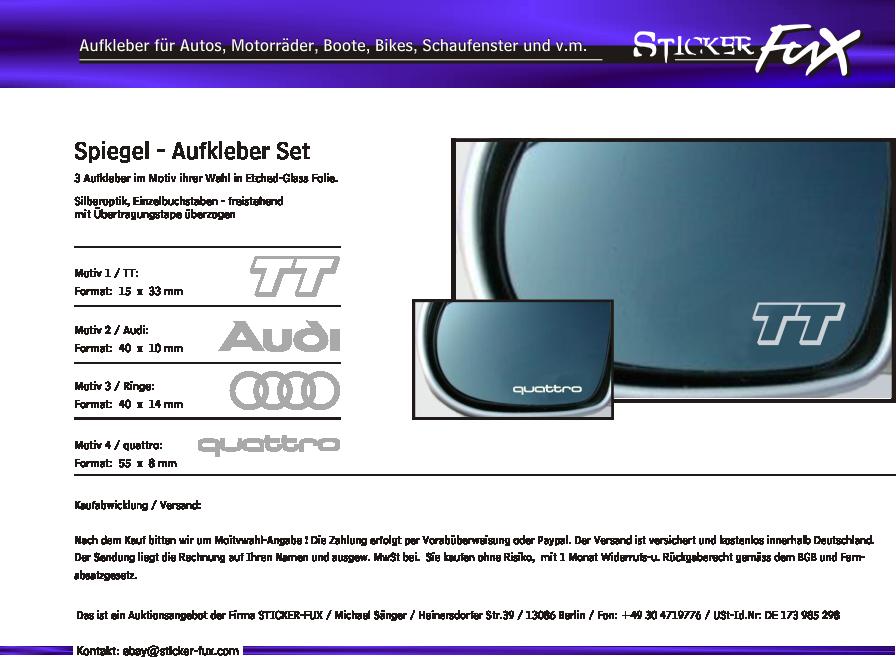 Spiegelaufkleber sticker gravureffekt f r audi ebay for Spiegel aufkleber